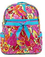 Belvah Women's Girls Cotton Quilted Damask Floral Large Zippered Backpack Bag