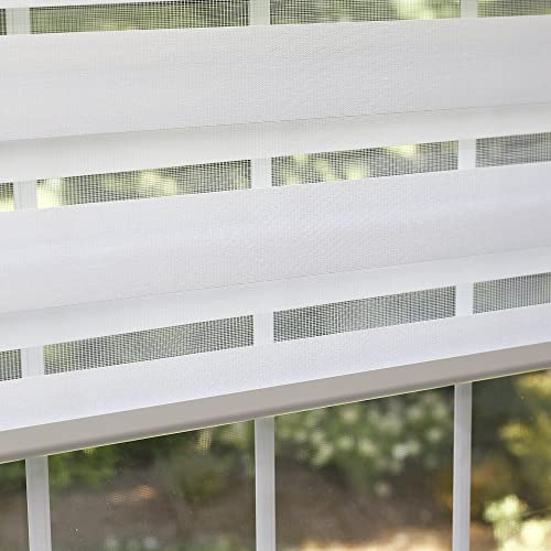 Best Home Fashion Closeout Premium Duo Wood Look Roller Window Shade – White – 32 W x 64 L
