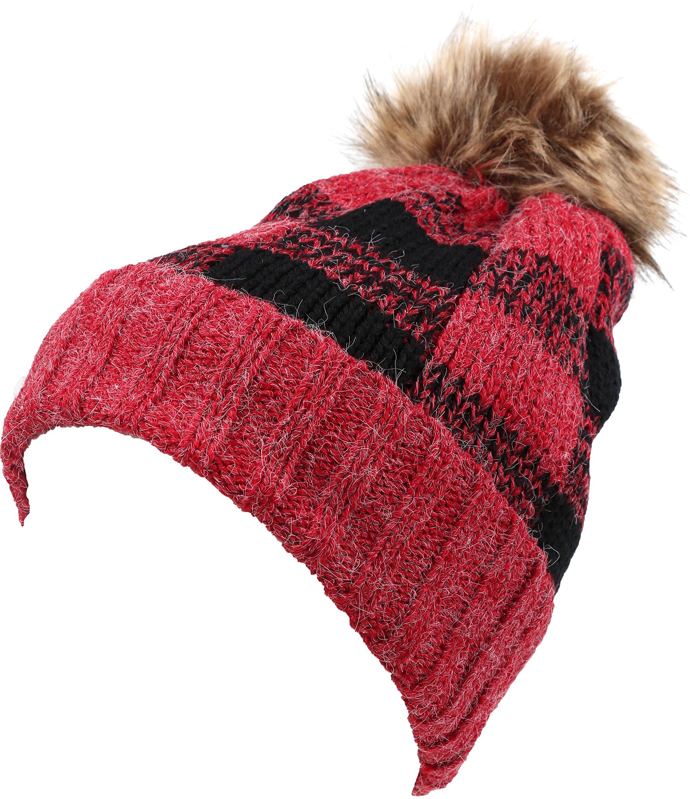 Sakkas 16150 - Baya Long Tall Checker Pattern Fold Over Faux Fur Pom Pom Unisex Beanie Hat - Red / Black - OS