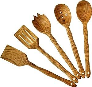 Handmade Utensil Set. - Wooden Cute - Kitchen - Utensils Set. Kitchen - Supplies & Utensils Big Set of 5 (Oak Wood)