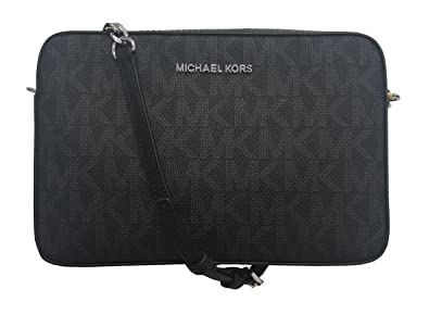 4099c38102ba Michael Kors Jet Set Large East West Crossbody Bag Black MK Signature