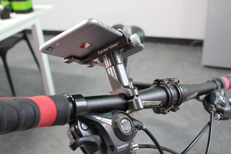 Spardar Bike Phone Holder Aluminum Universal Adjustable 360/° Rotation Motorcycle Phone Mount Fits iPhone X 5 6 7 8 Plus Samsung Huawei BlackBerry LG Spardar-SBD