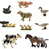 BOLEY (12-Piece) Farm Animal Playset - With Different Varieties of Realistic Looking Farm Animals and Baby Farm Animals - Figurines Ranging from Cows, Pigs, Sheep, Ducks, Geese, Horses, and Chickens