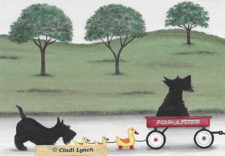 Lynch folk art scotties frolic in snow Christmas cards Scottish terriers