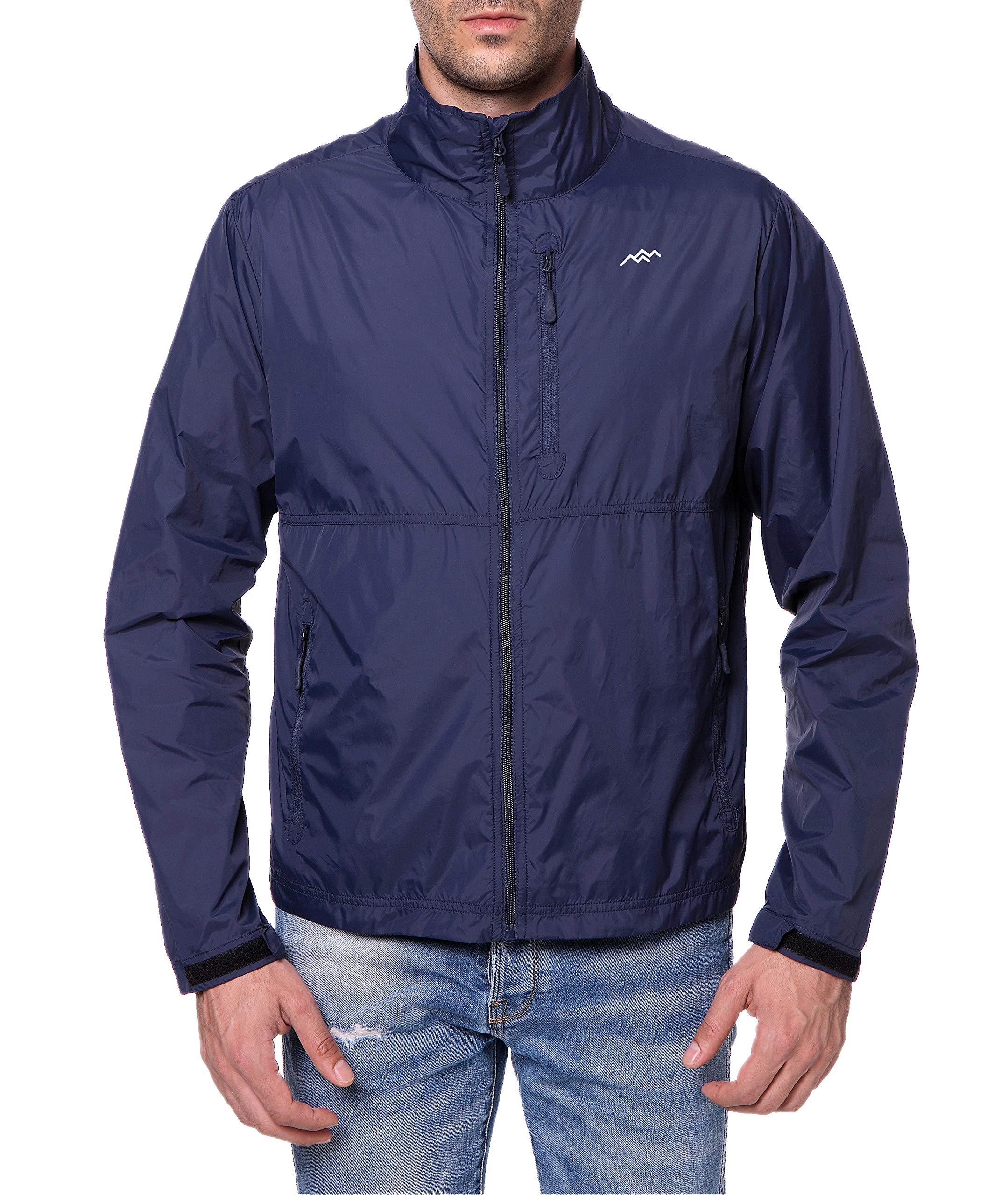 Trailside Supply Co. Men's Water-Resistant Nylon Windbreaker Front-Zip up Jacket, Sapphire Blue, 2X-Large by Trailside Supply Co.
