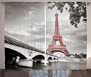 "Ambesonne Paris Curtains, Eiffel Tower Bridge Capital City Cloudscape Monochrome Style Picture Print, Living Room Bedroom Window Drapes 2 Panel Set, 108"" X 90"", Dimgray Salmon"