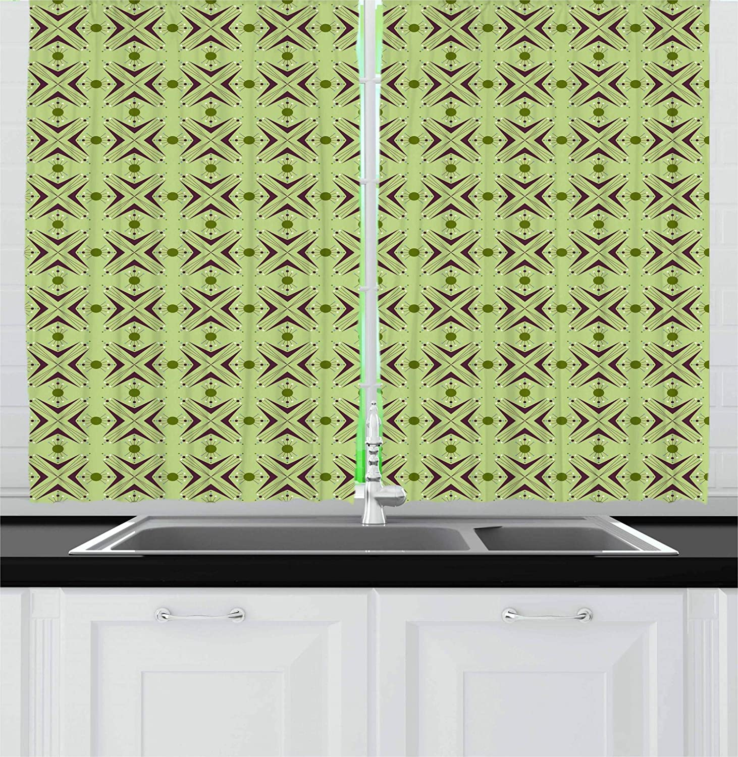 Amazon Com Berrly Movie Theater Kitchen Curtains Old Fashion Entertainment Objects Related To Cinema Film Reel Motion Picture Window Drapes 2 Panel Set For Kitchen Cafe Decor Yellow White W104 X L63 Inch