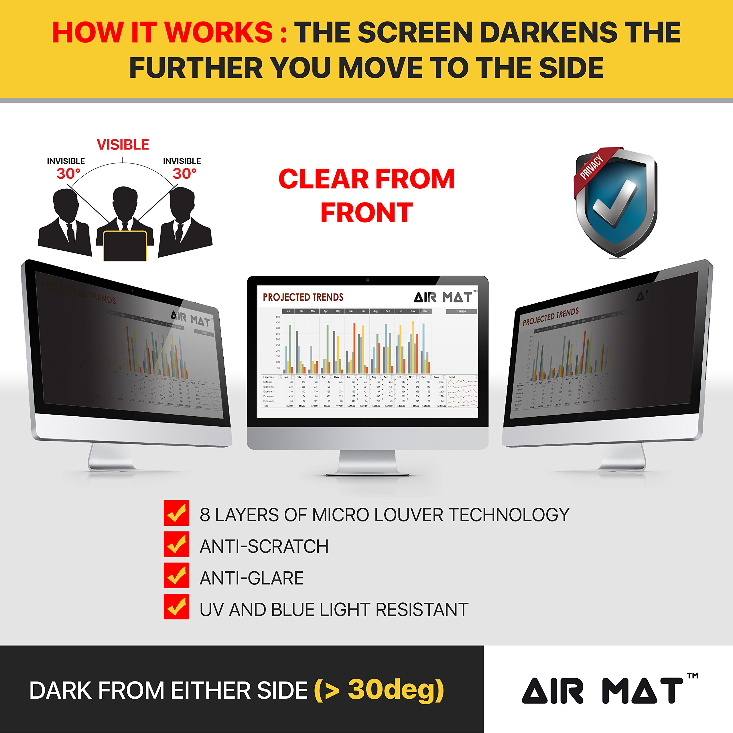 24 Inch Privacy Screen Filter for Widescreen Computer Monitor/LCD (16:10 Aspect Ratio). Original Anti Glare Protector Film for data confidentiality - (24'' W10) - MEASURE SCREEN CAREFULLY by Air Mat (Image #2)