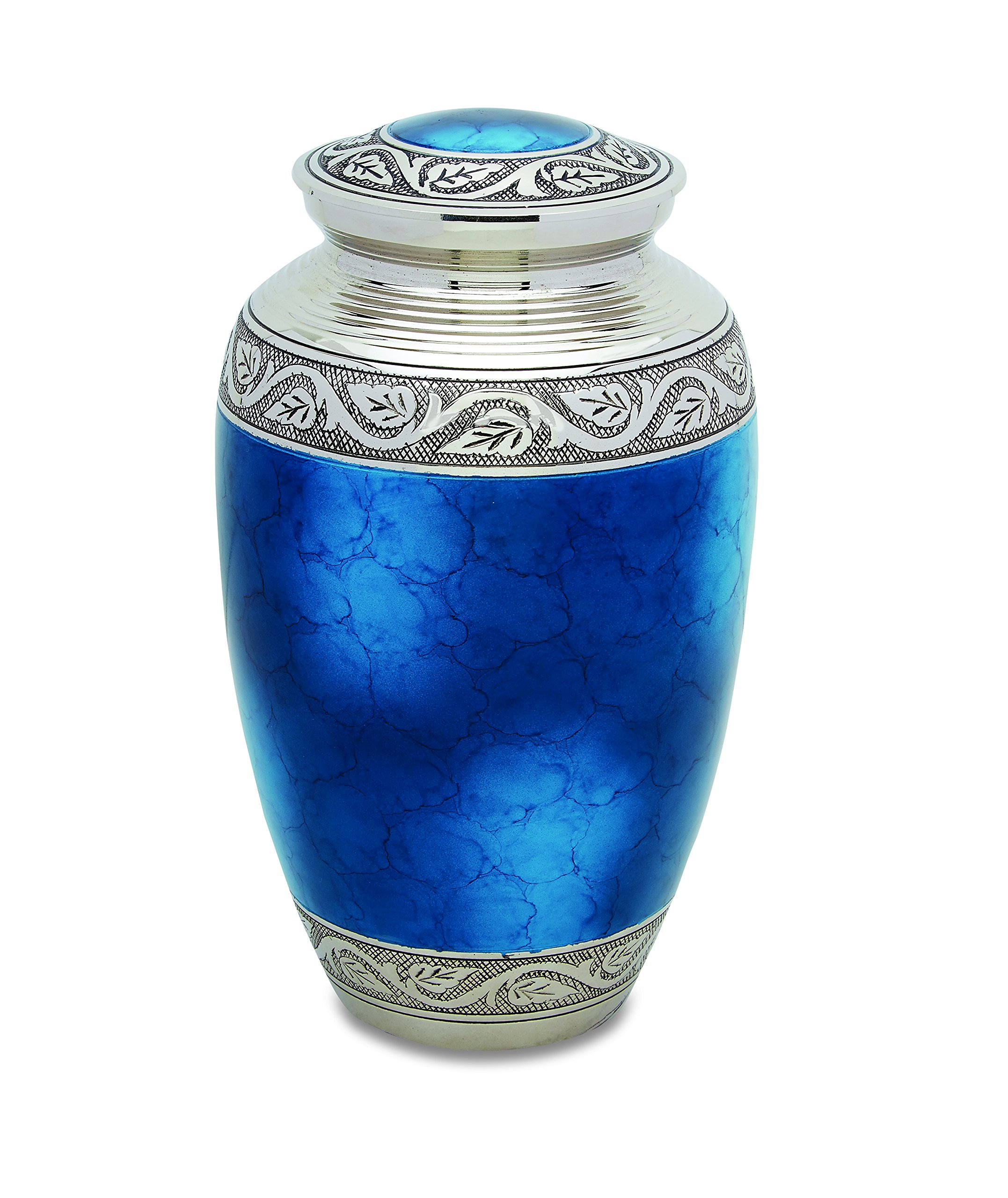 Star Legacy's Mediterranean Mystic - Blue Metal Cremation Adult Urn for Human Ashes w Velvet Bag by Star Legacy (Image #1)