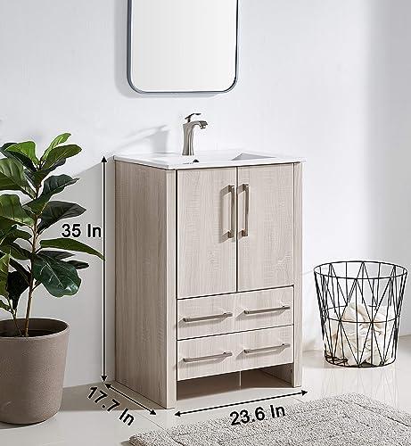 24 Inch Gray Wood Grain Bathroom Vanity Sink Combo,Single Bath Vanity
