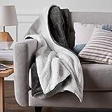 AmazonBasics Soft Micromink Sherpa Blanket - Throw, Charcoal