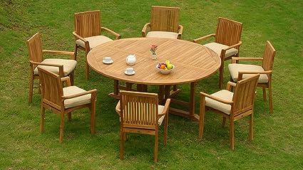 Amazon Com Wholesaleteak New 9 Pc Luxurious Grade A Teak Dining Set 72 Round Table And 8 Lua Stacking Arm Chairs Whdslu7 Garden Outdoor
