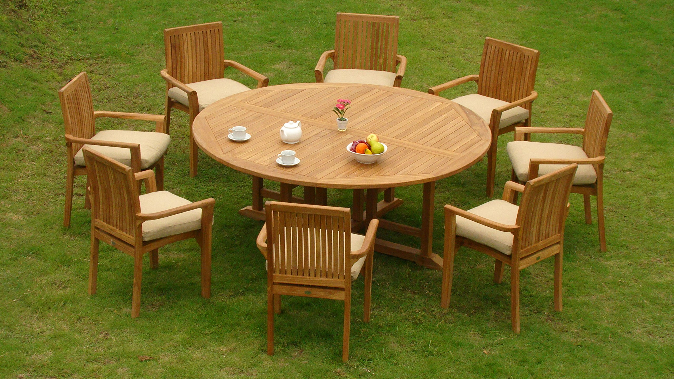 "New 9 Pc Luxurious Grade-A Teak Dining Set -72"" Round Table And 8 Lua Stacking Arm Chairs #WHDSLU7 - Teak wood is an extremely dense course grained hardwood and is widely known for its durability. ADD SUNBRELLA FABRIC CUSHIONS BY SEARCHING ASIN ""B01I4CC166"" or ""Wholesaleteak Dining Cushion"" ON AMAZON, CUSTOM MADE FOR THESE STYLE CHAIRS Table Dimension: 72"" Round Table, 30.5"" H , 2"" Umbrella Hole is in the center of the table. - patio-furniture, dining-sets-patio-funiture, patio - 91Esu0VCpaL -"