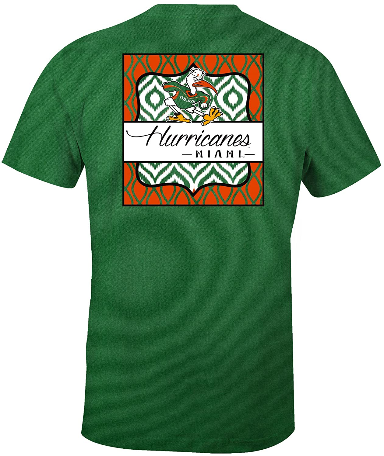 NCAA Miami Hurricanes Womens Double Pattern Scroll Favorite Short sleeve T-Shirt Large,Kelly