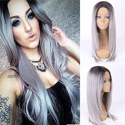 Royalvirgin - Peluca sintética de pelo largo y liso, color negro y gris
