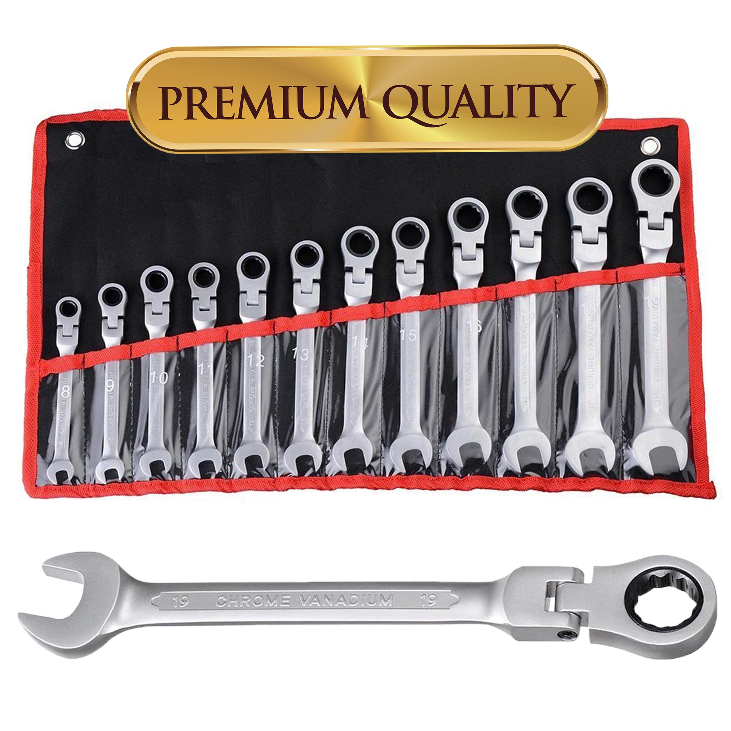 Koval Inc. 12 pc 8-19mm Flexible Reversible Ratcheting Wrench Spanner Tool Set (Silver)