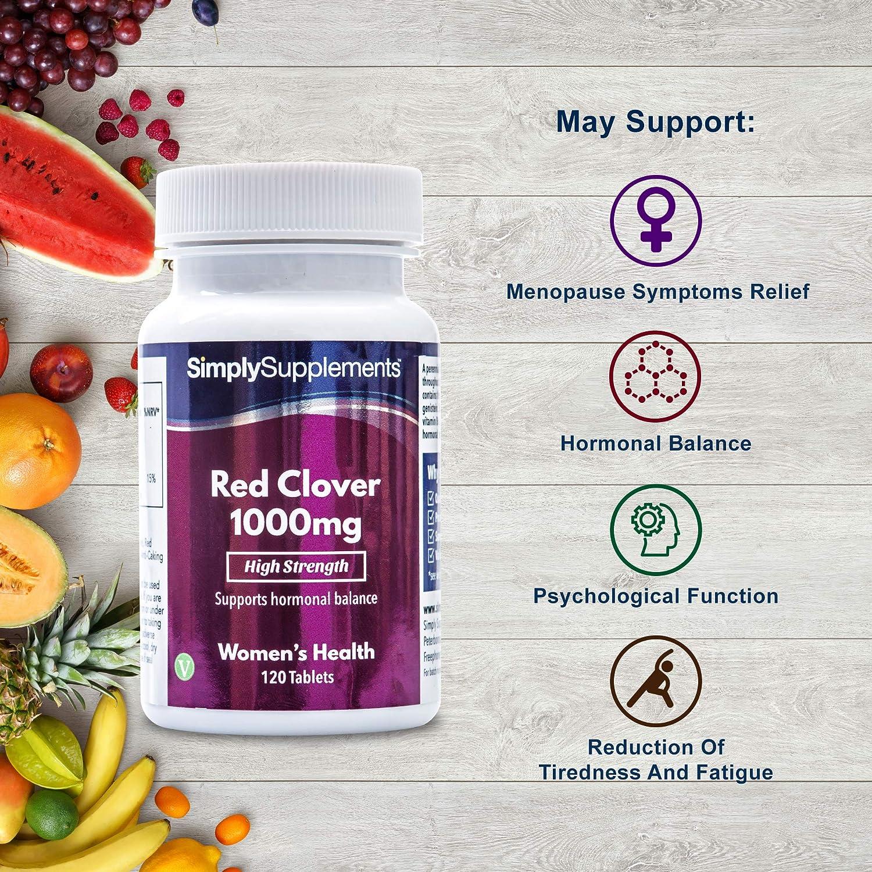 Trébol rojo 1000mg - ¡Bote para 4 meses! - Apto para veganos - 120 comprimidos - SimplySupplements: Amazon.es: Salud y cuidado personal