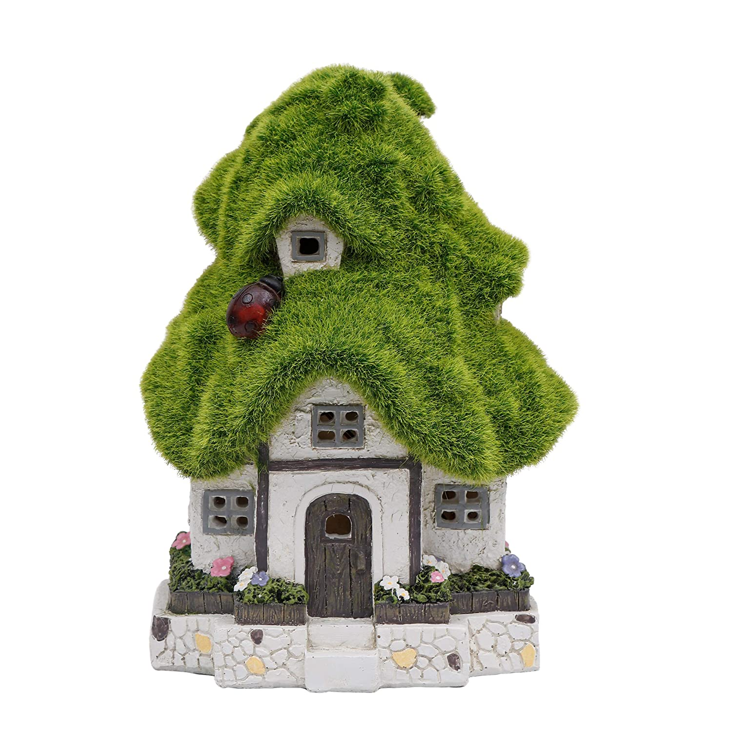TERESA'S COLLECTIONS Flocked Green House Fairy Garden Statue, Outdoor Resin Statues with Solar Lights, Garden Cottage Figurines for Outdoor Home Yard Decor (8 Inch Tall)