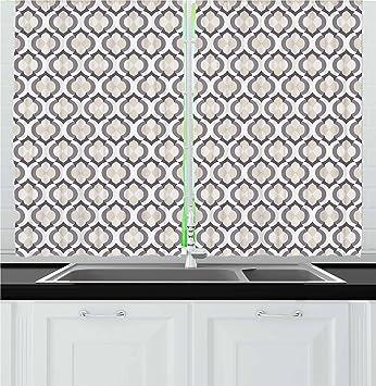 Fantastic Lunarable Cream Kitchen Curtains Moroccan Style Trellis Pattern With Geometric Design Arabian Oriental Retro Inspired Window Drapes 2 Panel Set For Interior Design Ideas Clesiryabchikinfo