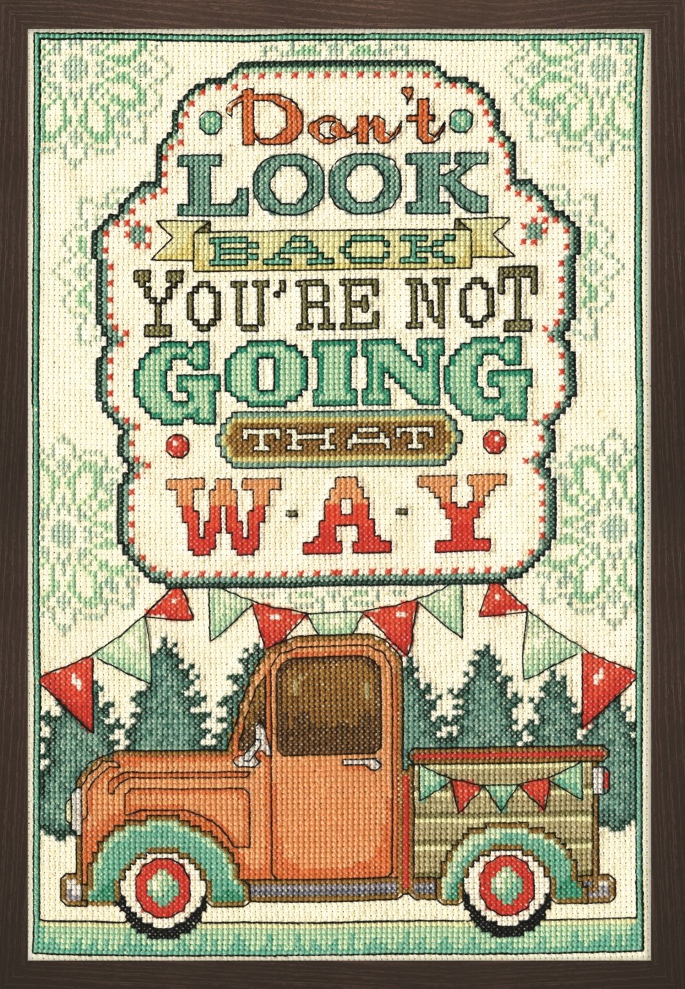 Tobin 2902 14 Count Don't Look Back Counted Cross Stitch Kit, 8 by 12, Multicolor 8 by 12