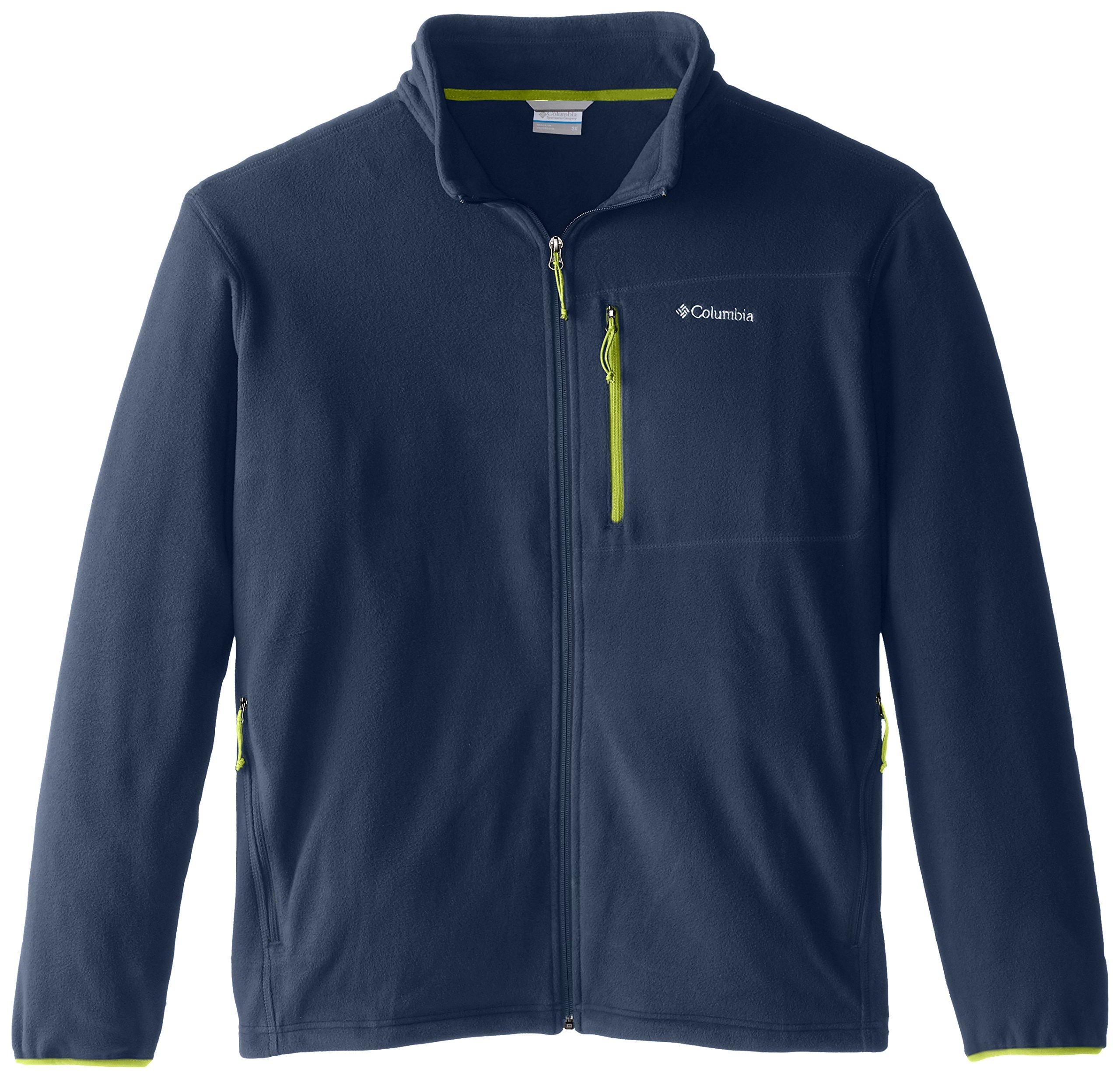 Columbia Men's Big and Tall Cascades Explorer Full Zip Midweight Fleece Jacket, Zinc/Voltage, Large/Tall