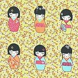 Tissu de coton imprimé | poupées japonaises 'Kokeshi' - bleu turquoise, carotte, rot bordeaux et pink (tissu anis / vert) | Largeur: 155 cm (1 mètre)