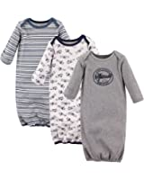 Hudson Baby Infant Cotton Gown, 3 Pack