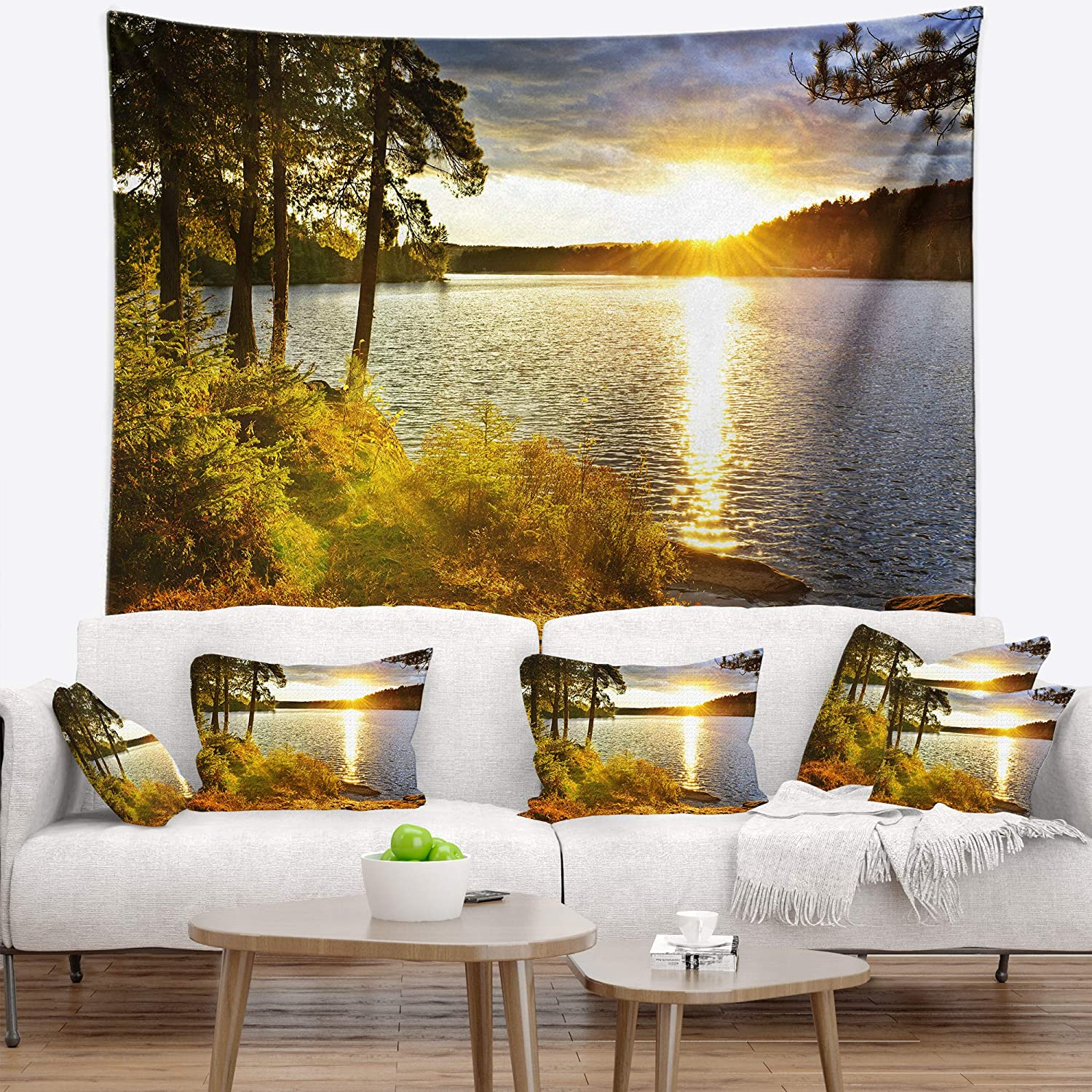 Created On Lightweight Polyester Fabric x 50 in 60 in Designart TAP14301-60-50  Beautiful View of Sunset Over Lake Landscape Blanket D/écor Art for Home and Office Wall Tapestry Large