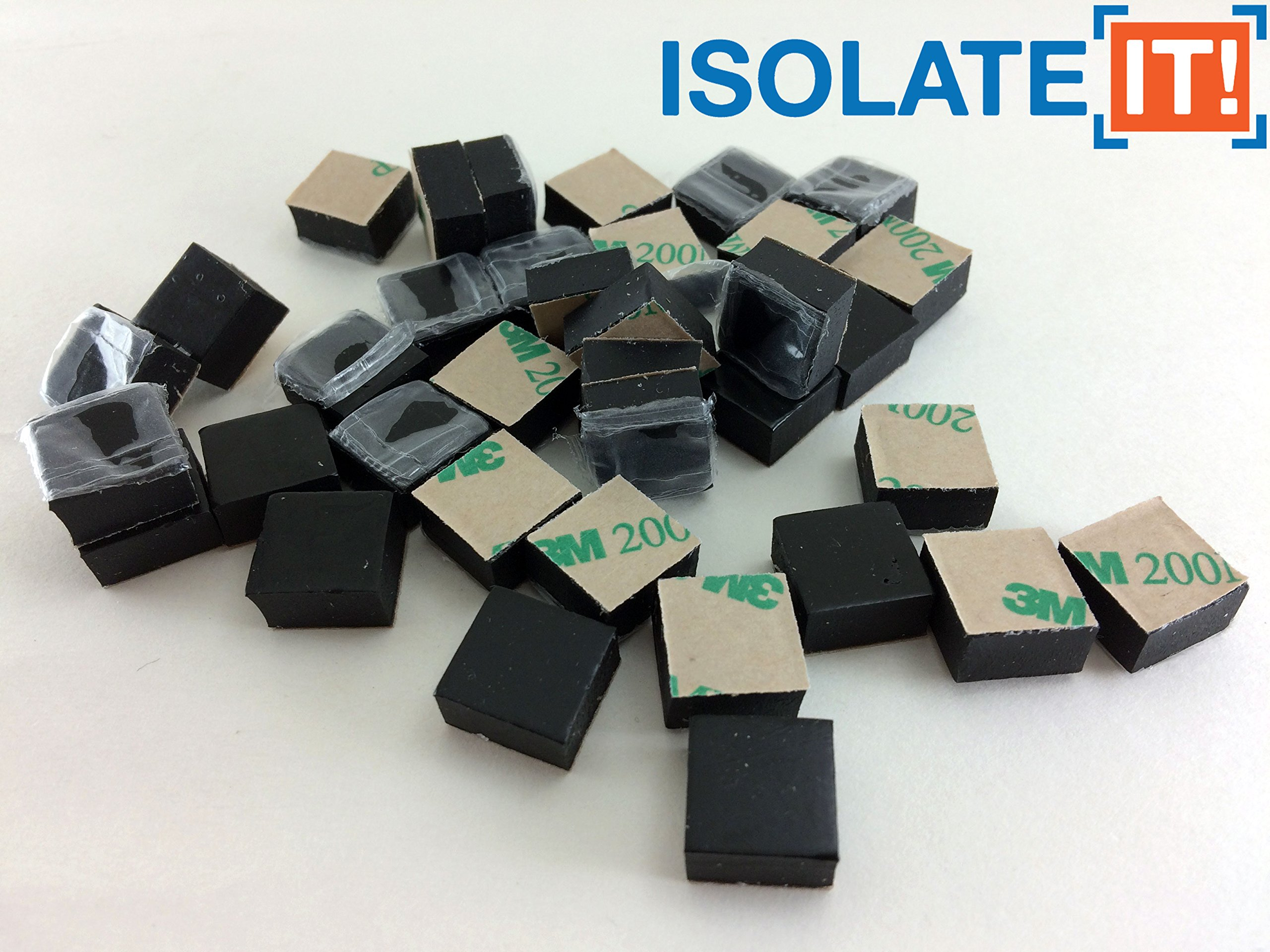Isolate IT: Sorbothane Vibration Isolation Square Pad 1/4'' Thick 1/2'' x 1/2'' 70 Duro with 3M PSA - 36 Pack