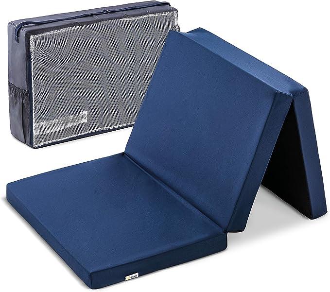 Hauck Sleeper 60 x 120 cm, colchón de espuma 6cm de grosor, para cunas de viaje, plegable en 3 partes, incluida bolsa de transporte, Navy (azul) (H-89090-EN-000-T06): Amazon.es: Bebé