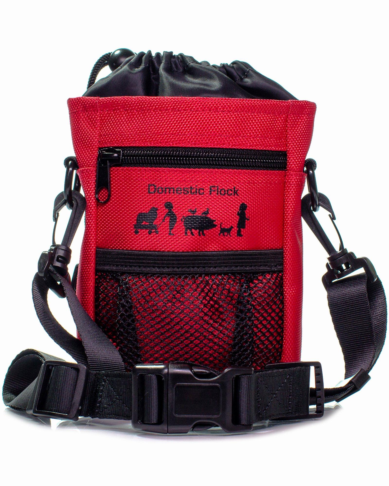 Treat Pouch with Bonus Waste Bags, Dog Treat Bag by Domestic Flock – Poop Bag Dispenser, Adjustable Shoulder Strap, 2 Zipper Pockets, Drawstring Pouch – Toy Holder