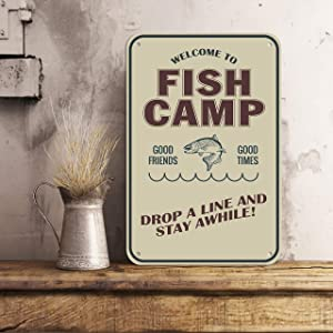 Fish Camp Vintage Style Up at Dawn Trout Fishing Metal Wall Art Rustic Trout Fly Fishing Decor Nature Wildlife Signs Fishing Wildlife Cabin,10x14 Inches