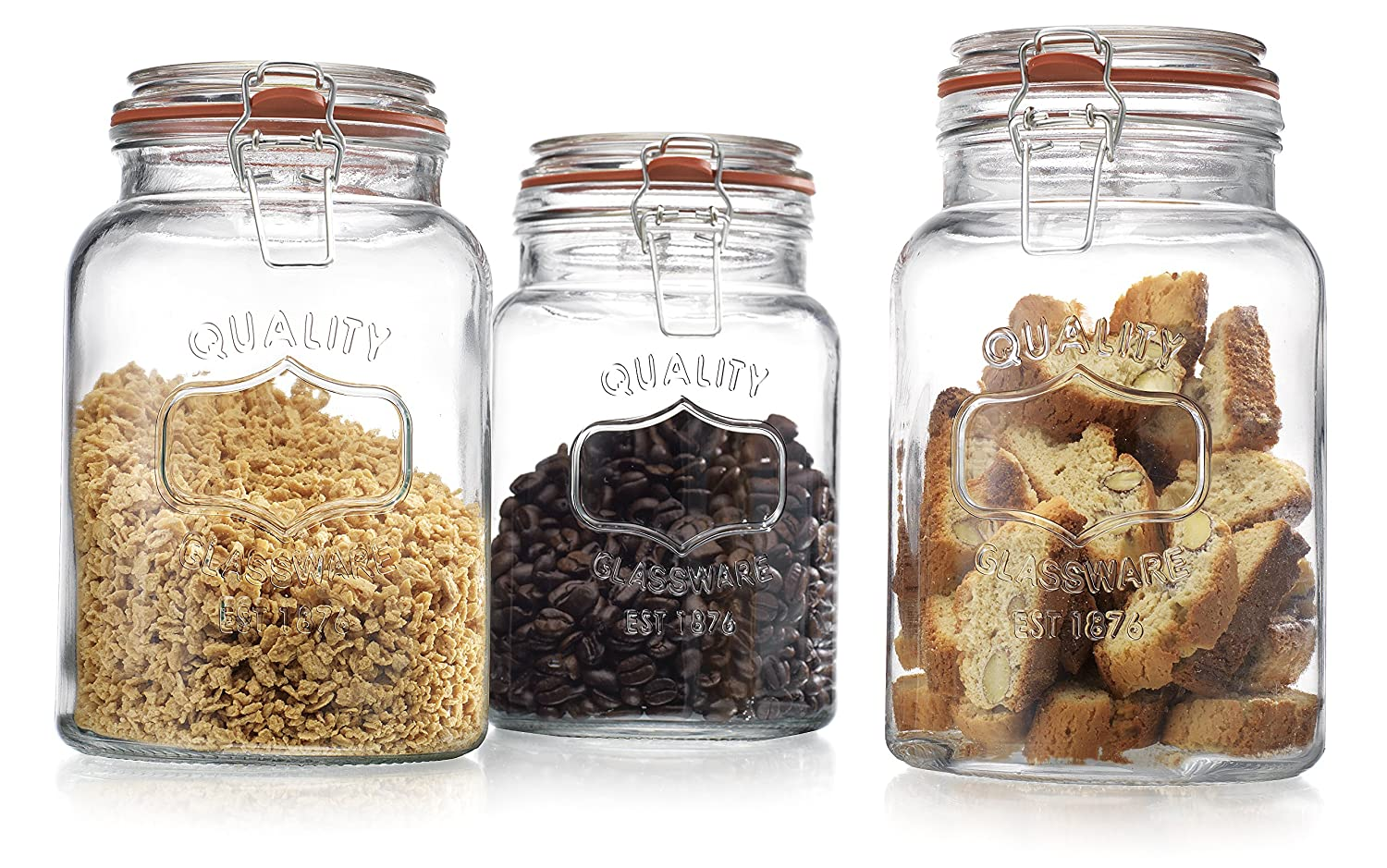 amazon com glass canister quality set of 3 clear round jar with amazon com glass canister quality set of 3 clear round jar with hermetic seal bail trigger airtight lock for kitchen food storage containers home