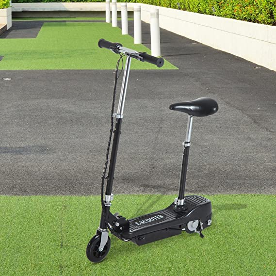 HOMCOM Patinete Eléctrico Plegable E-Scooter Batería 120W Manillar Asiento Ajustable Freno Pie de Apoyo 2 Colores para Adolescentes