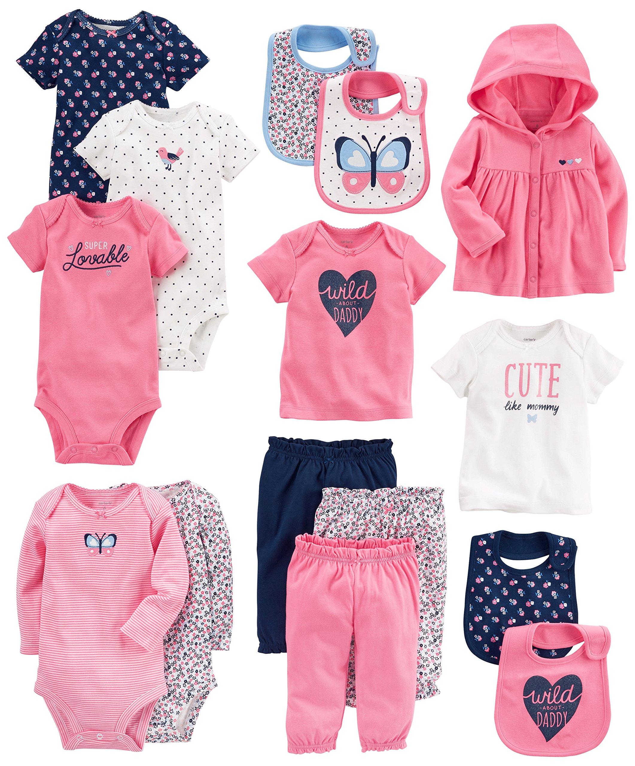Carter's Baby Girls' 15-Piece Basic Essentials Set, Floral, Newborn by Carter's