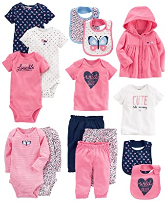 Amazon Com Carter S Baby Girls 15 Piece Basic Essentials Set Clothing