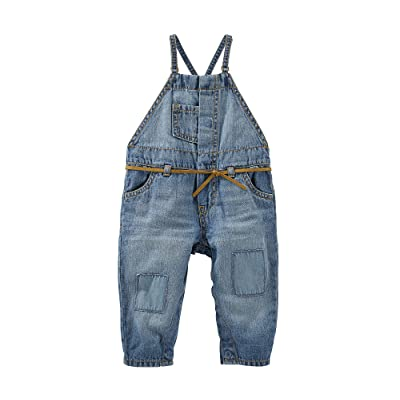 OshKosh B'Gosh Baby Girls' Knee-Patch Denim Overalls, 6 Months