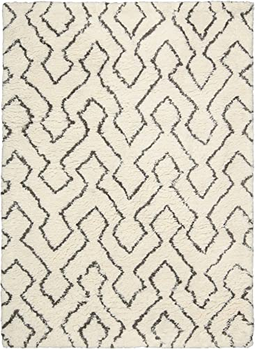 Rug Squared Camarillo Shag Area Rug CRM03 , 7-Feet 6-Inches by 9-Feet 6-Inches, Ivory Chocolate