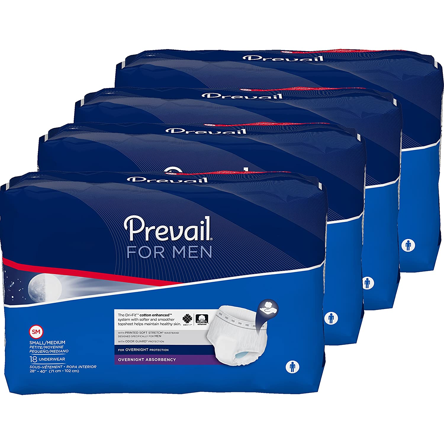 Amazon.com: Prevail for Men Underwear Overnight Absorbency, Small/Medium, 72 Count: Health & Personal Care