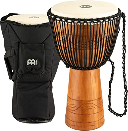 Brown Meinl Percussion ADJ2-XL+BAG African Style Rope Tuned 13-Inch Wood Djembe with Bag