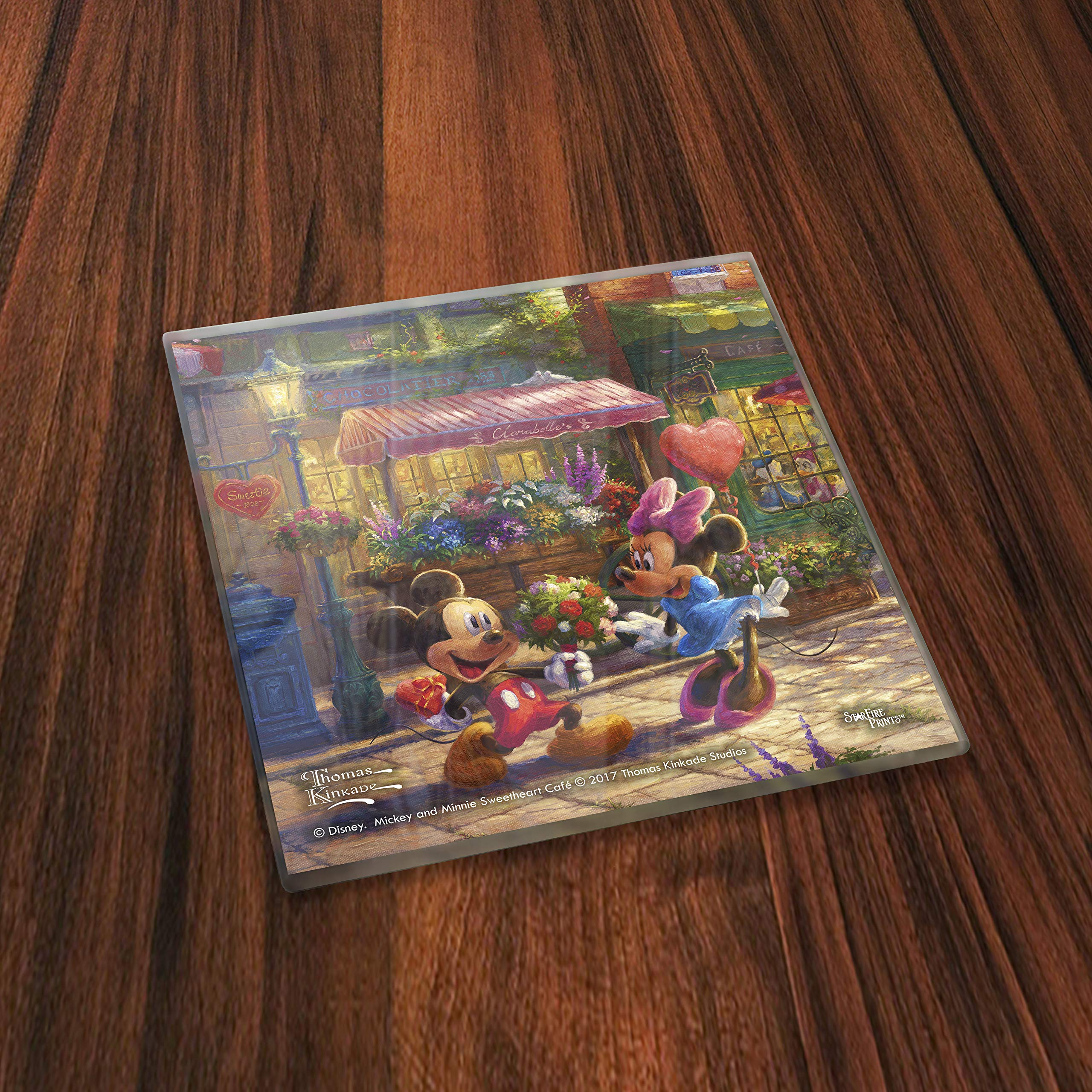 Disney Mickey and Minnie Mouse Glass Coaster - Sweetheart Collection - Thomas Kinkade - Comes With Stylish Modern Wooden Holder by Trend Setters