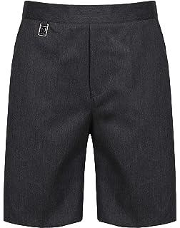 70d0045e534 Ages 9-16 Plus Size Boys Mens School Shorts Elasticated Waist Black Grey Navy  Sturdy