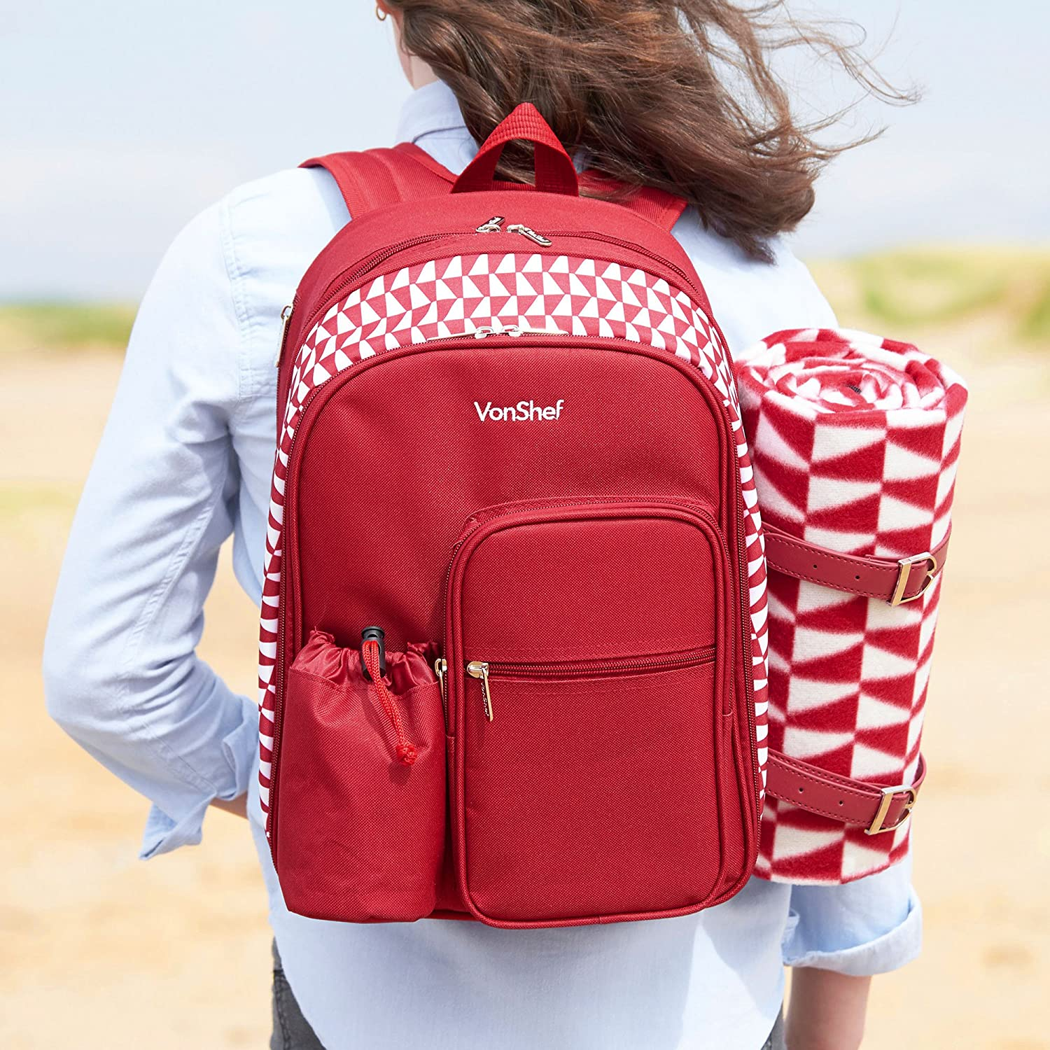 VonShef Two-Person Geo Red Picnic Backpack With Blanket – Includes 17-Piece Dining Set and Cooler Compartment