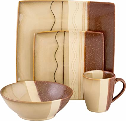 Sango 16 Piece Zanzibar Dinnerware Set Brown  sc 1 st  Amazon.com & Amazon.com | Sango 16 Piece Zanzibar Dinnerware Set Brown ...