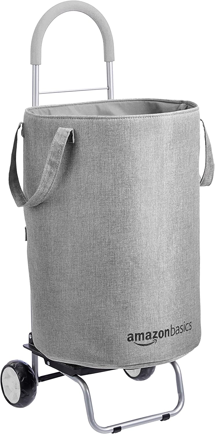 AmazonBasics Rolling Laundry Hamper Cart Converts into Dolly, 36 inch Handle Height, Grey