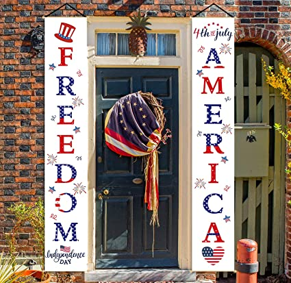Amazon Com Whaline 4th Of July Decoration Porch Sign Set America Freedom Happy Independence Day Wall Hanging Decorations Banner Fourth Of July Flag Party Favor 12 X 72 Inch Health Personal Care