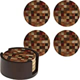 Thirstystone Marble Pattern and Walnut Holder Drink Coaster Set