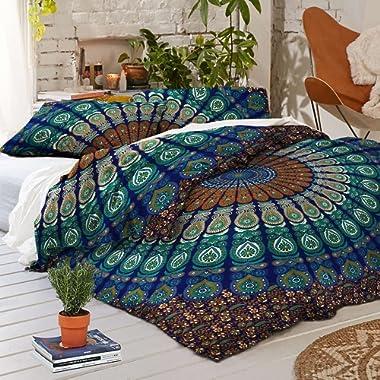 Sophia Art Exclusive Peacock Mandala Duvet Cover with Pillowcases Mandala Doona Cover, Donna Cover Indian Dovet Set (Blue, California King)