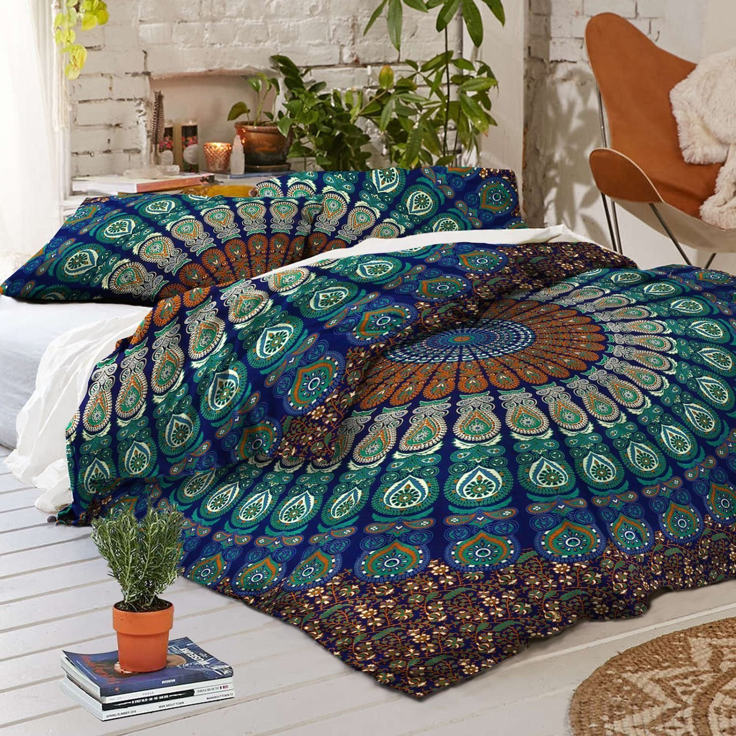 Sophia Art Exclusive Peacock Mandala Duvet Cover with Pillowcases Mandala Doona Cover, Donna Cover Indian Dovet Set with Magazine Holder Letter Holder Wall Hanging (Blue, Queen)