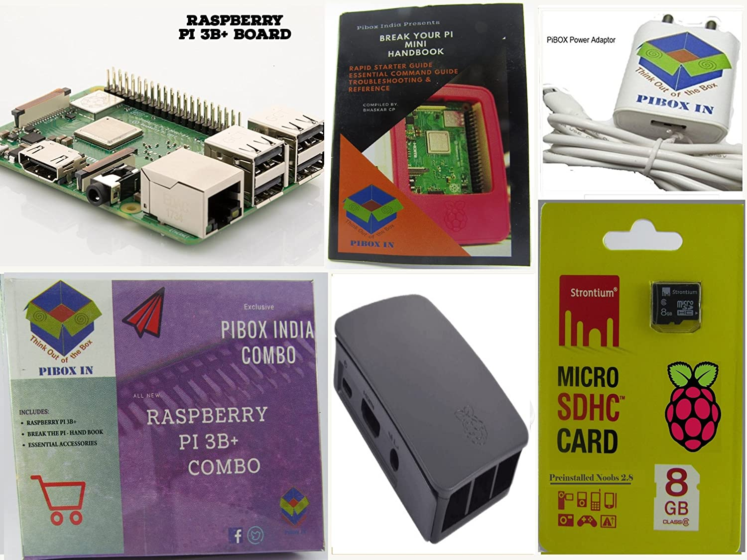 f81c2185a00 Amazon.in  Buy Raspberry Pi 3B+ 3B Plus Motherboard Combo - Variation  (PiBOX - Basic Combo Black - 3205BK) Online at Low Prices in India